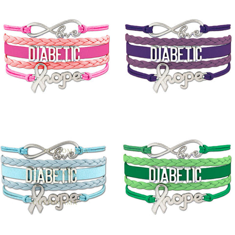 Infinity Love Diabetic Hope Bracelet Leather