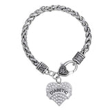 Diabetic Bracelet Love Clear Rhinestone Heart