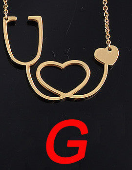 Nurse 18k Gold Plated Necklace - Stethoscope
