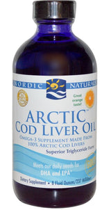 Nordic Naturals Arctic Cod Liver Oil, Orange, 8 fl oz (237 ml) or 473ml