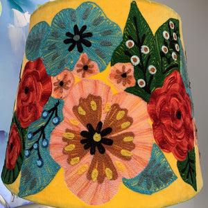 Mustard floral tapered embroidered lampshade