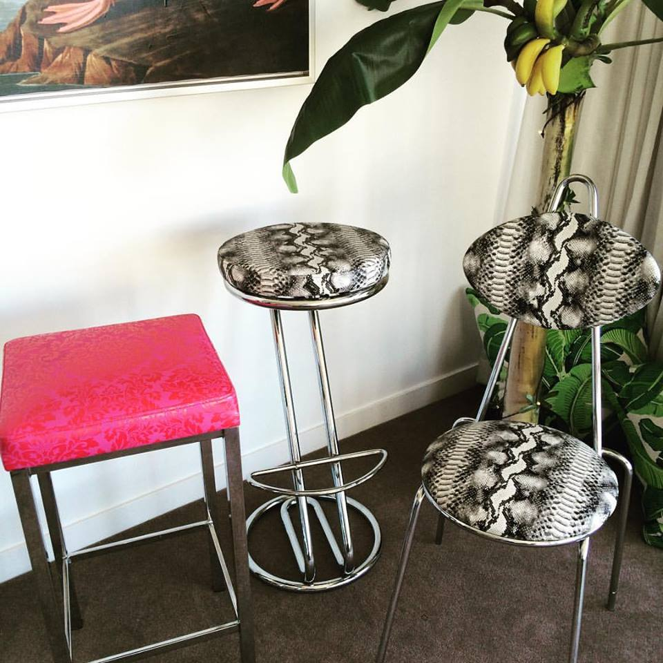 Chrome bar stool with python vinyl seat