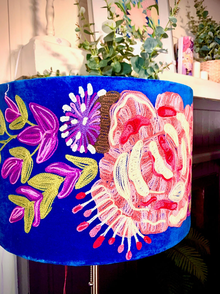 Bloom Velvet Embroidered Lampshade in Cobalt