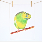 Budgie linen tea towel