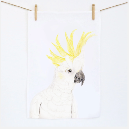 White cockatoo linen tea towel