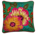 Embroidered Hibiscus on emerald cushion