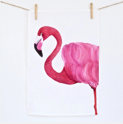Flamingo linen tea towel