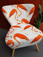 Orange Flamingo on Velvet chair