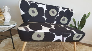 Marimekko 2 Seater in Black and Grey Poppies