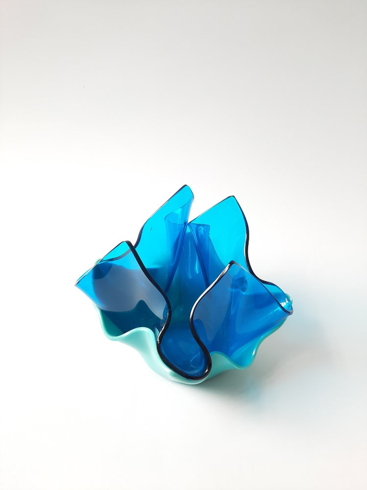 Folded glass vase