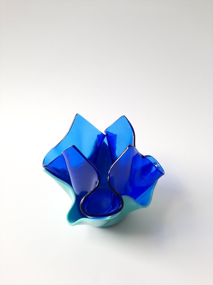 Folded glass vase in cobalt and light blue