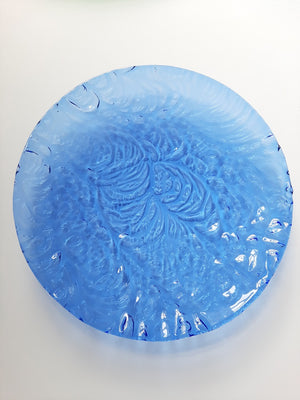 Ripple blue glass platter