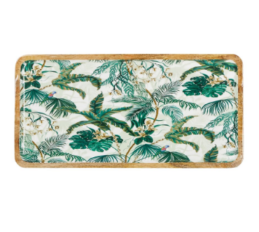 Oasis Enamel and Mango Wood Platter