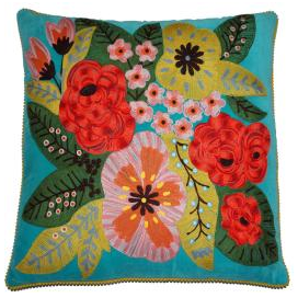 Large embroidered velvet cushion in turquoise
