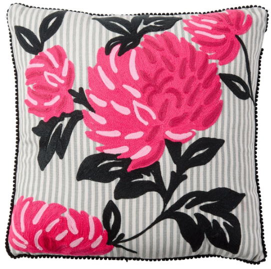 Peony on stripes cushion