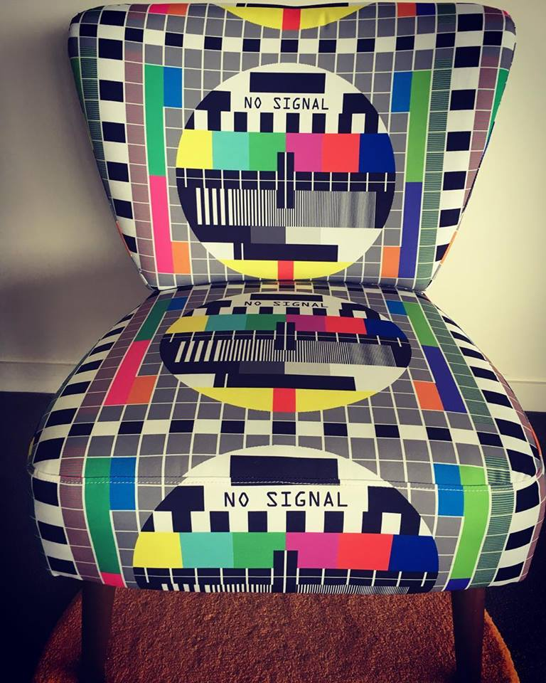 SOLD   TV Test Pattern chair