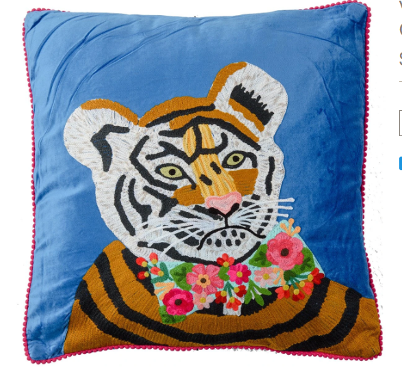 Embroidered Frida tiger on cobalt velvet cushion