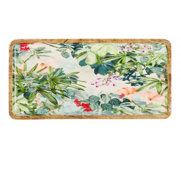 Wildflower Enamel and Mango Wood Platter