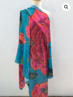 Anna Chandler Evening Wrap - Peony on Turquoise