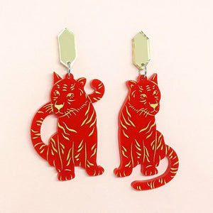 Shibuya Moon Tiger Twins earrings