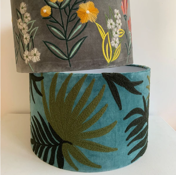 Jungle velvet embroidered lampshade
