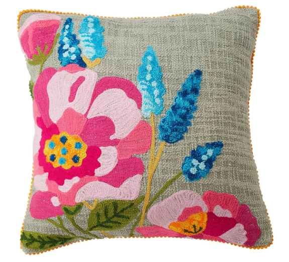 Floral embroidered cushion