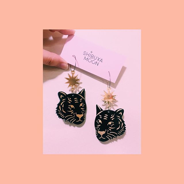 Shibuya Moon Tiger Head earrings