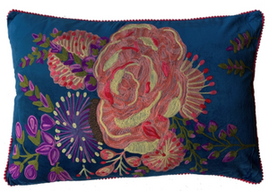 Bloom Oblong Embroidered Cushion in Cobalt Blue