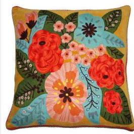 Large Mustard Embroidered Cushion