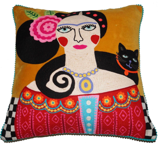 Embroidered Frida with cat on mustard velvet cushion
