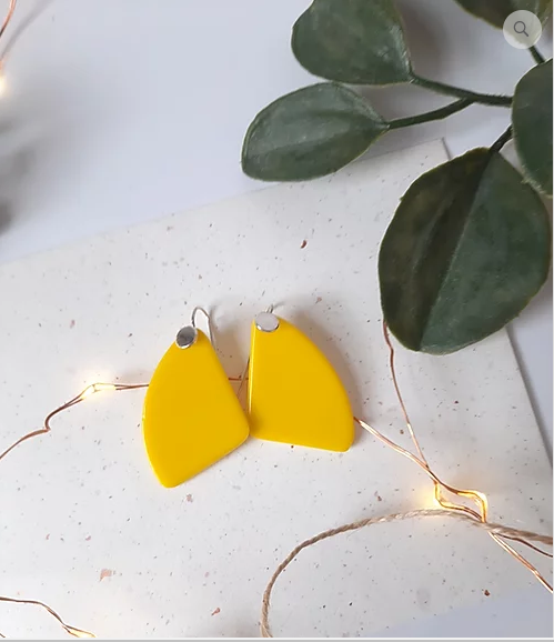 Opaque yellow dangle drop glass and silver earrings