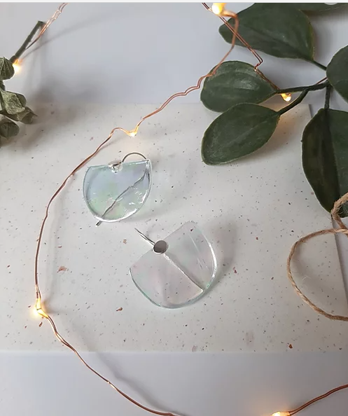 Iridescent transparent half circle glass and silver earrings