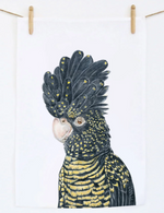 Black cockatoo linen tea towel