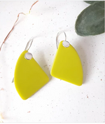 Opaque lime dangle drop glass and silver earrings