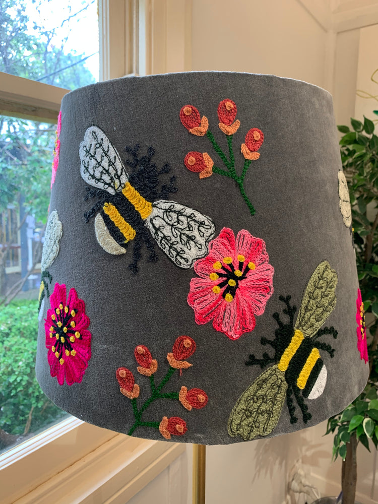 Bees knees tapered embroidered lampshade