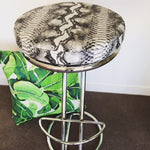 Restored Chrome bar stools with python vinyl seat