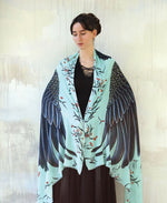 Shovava Blue Cockatoo organic cotton shawl