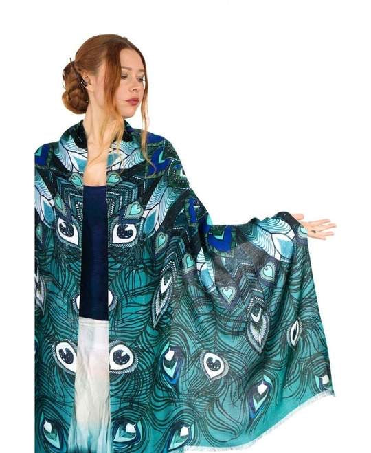 Shovava Aqua Peacock organic cotton shawl