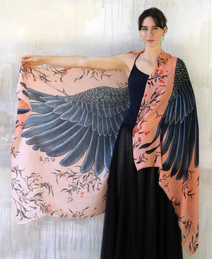 Shovava Peach Cockatoo organic cotton shawl