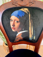 "Balloon back accent chair featuring Vermeer's ""Girl with a Pearl Earring"""