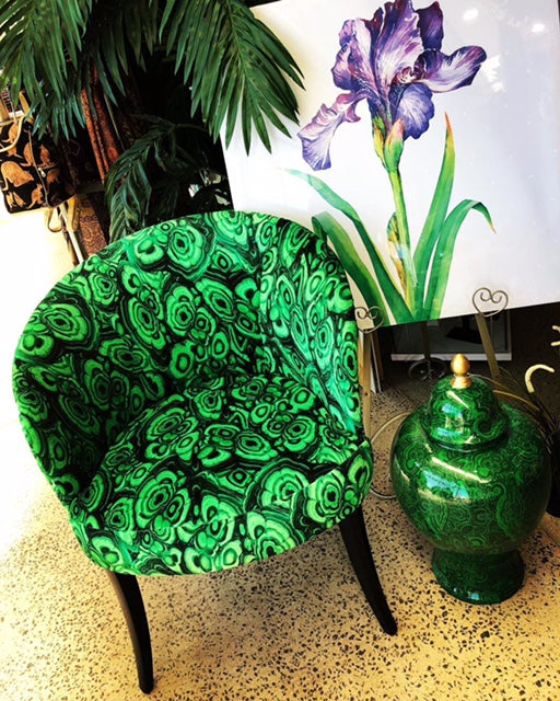 Green malachite velvet tub chair