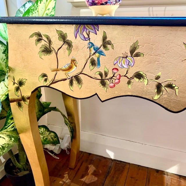 Gold Leaf Chinoiserie console table