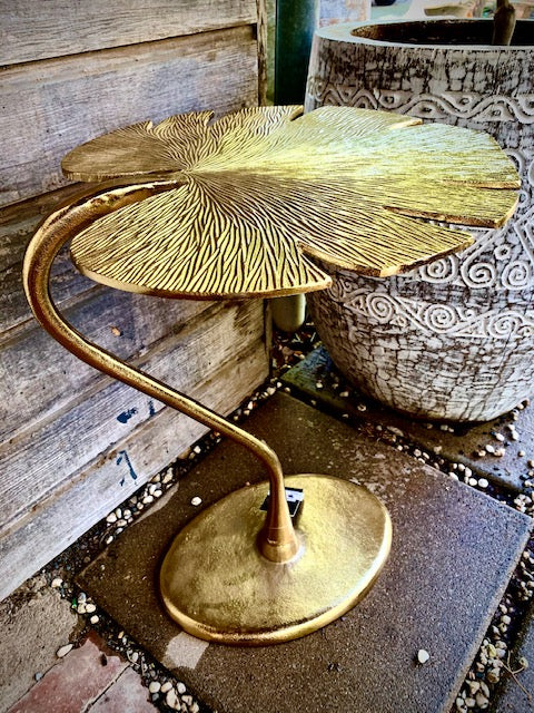Monstera Gold Side Table