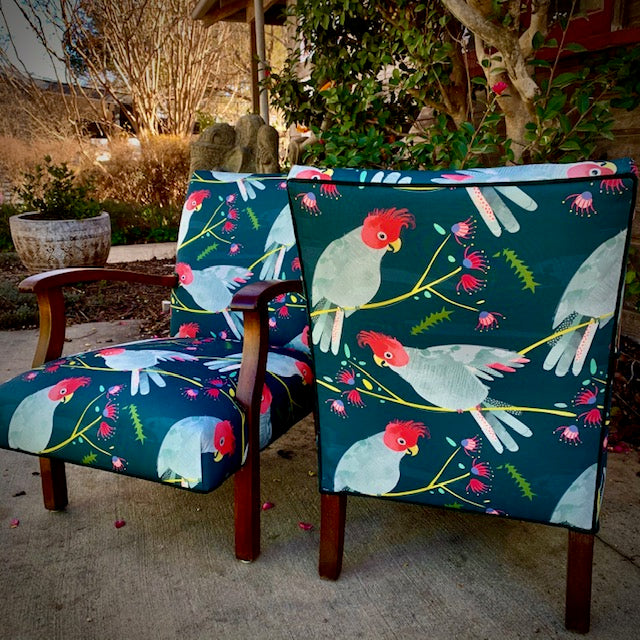 Fully Restored Vintage chair in Gang Gang fabric