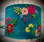 Large Velvet lampshade with floral embroidery