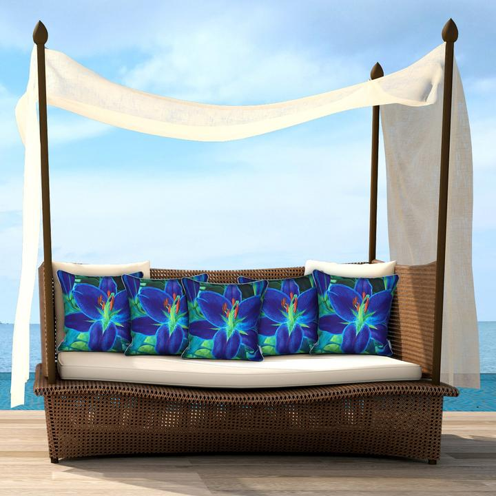 Blue lily outdoor cushion cover