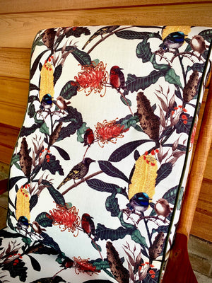 Beautifully restored mid century chair in Banksia Medley fabric