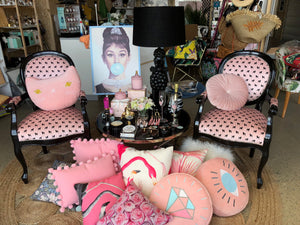 ONE ONLY Poodles on Pink Velvet Balloon Back chairs