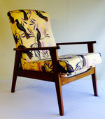 Retro Recliner in Jos Proust Black Cockatoo on Yellow fabric SOLD