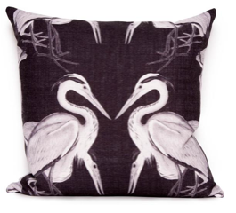 Herons in black cushion cover